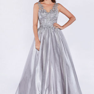 Silver Sleeveless Bridesmaid Long Dress
